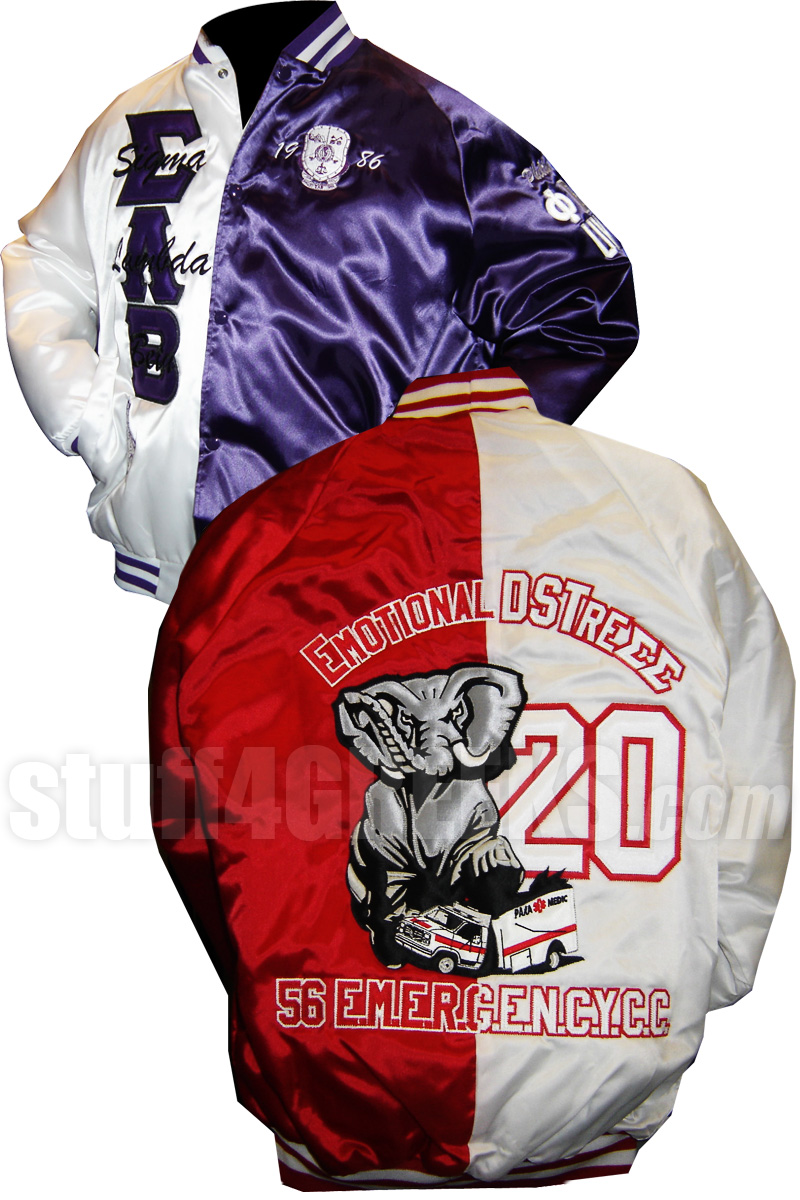 Two-Tone Satin Baseball Jacket