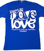 United by Dove Bounded by Love - Screen Print on Royal Blue Shirt