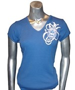 Zeta Fancy Crest V-Neck T-Shirt, Royal